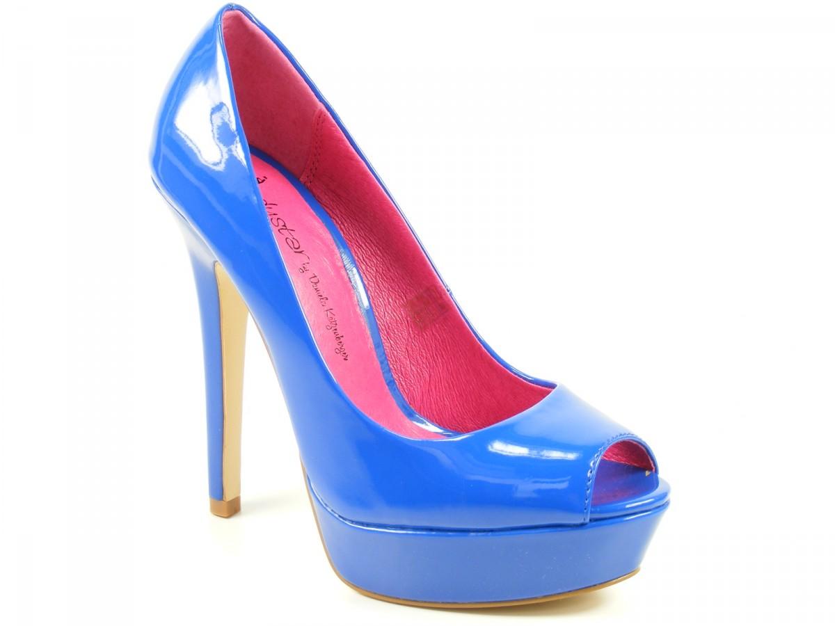 Romika Ladystar by Daniela Katzenberger Pumps Peep Toe Lack blau Kathy ...
