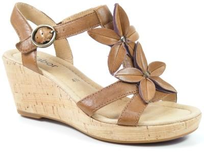 Schuhe Braun Sandaletten Damen Sandalen Erleviola Weite Kork Gabor cJlK1F