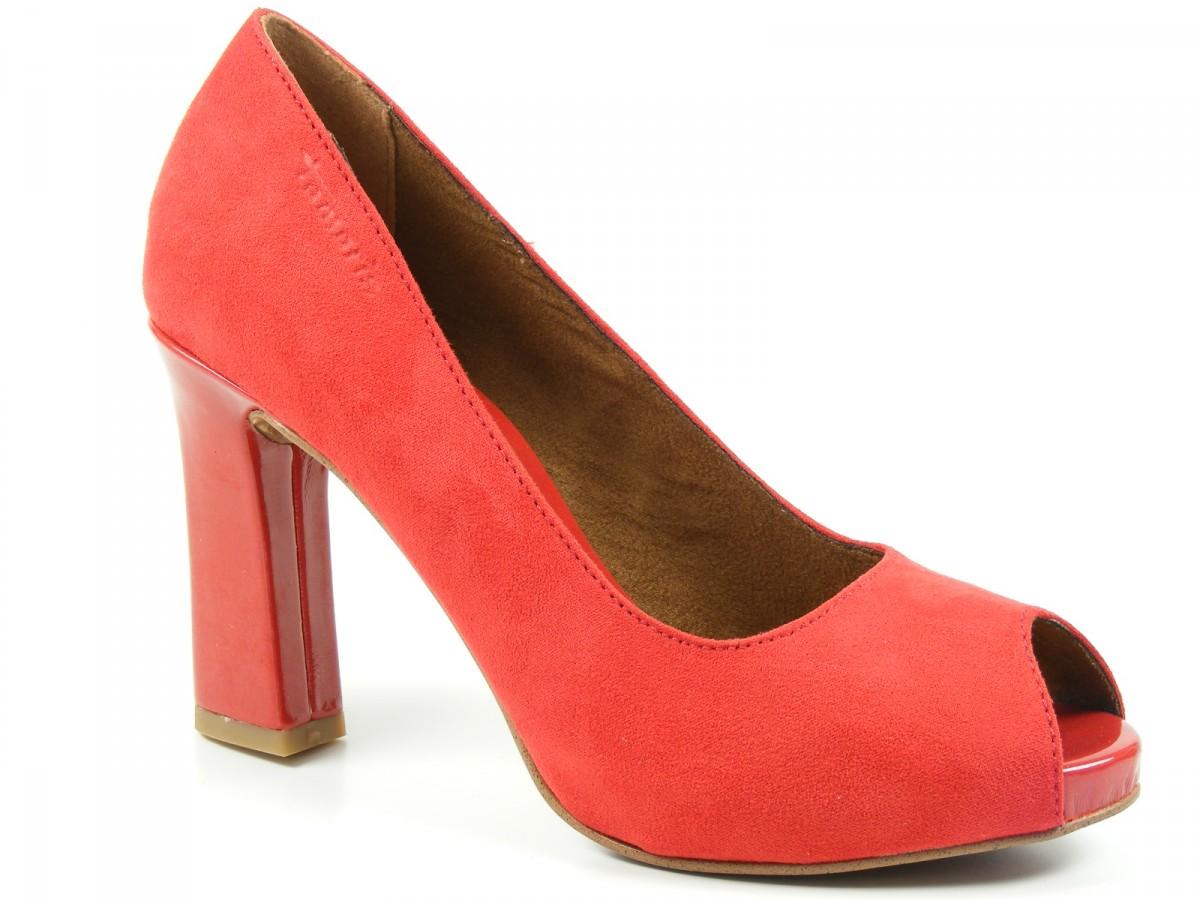 tamaris schuhe plateau pumps high heels peeptoe rot chili. Black Bedroom Furniture Sets. Home Design Ideas