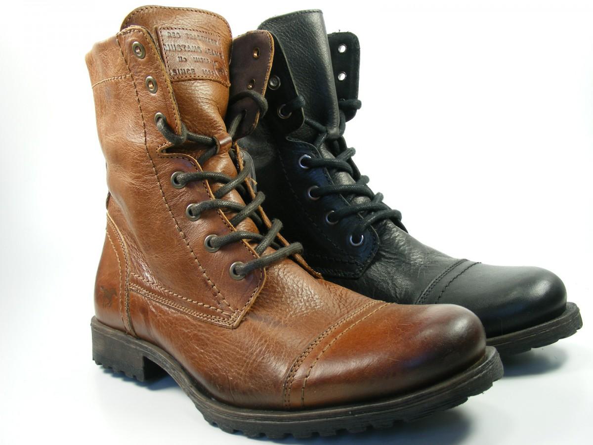 mustang schuhe herren stiefel boots leder 4864 502 ebay. Black Bedroom Furniture Sets. Home Design Ideas
